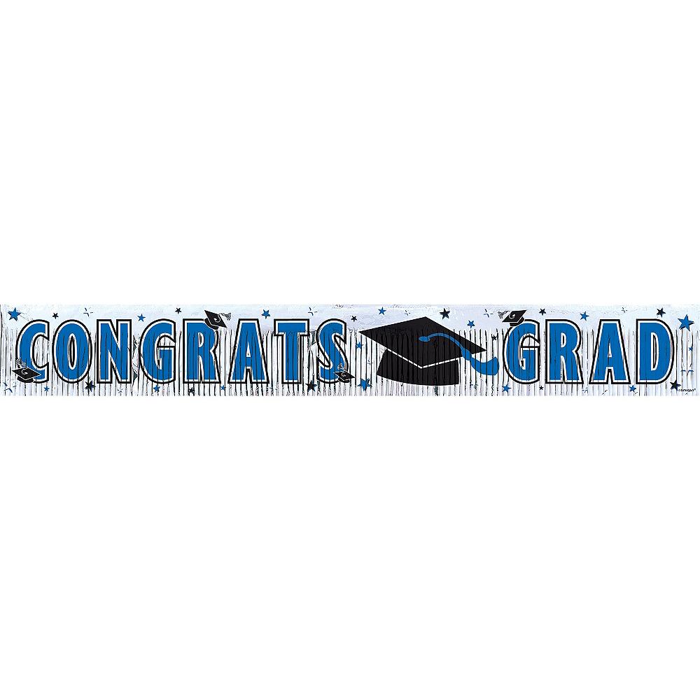Blue Foil Fringe Graduation Banner Image #1