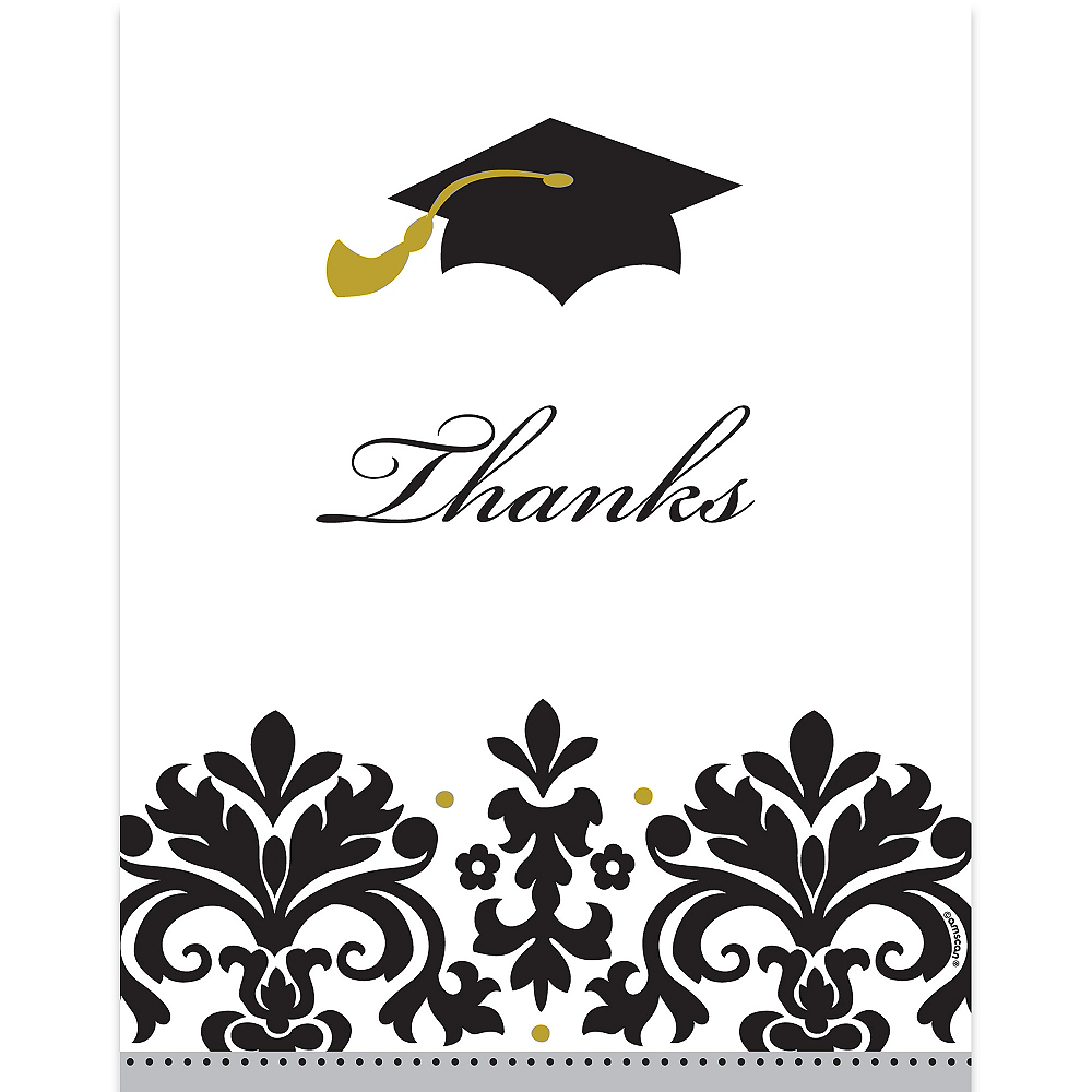 Black & White Graduation Thank You Notes 50ct Image #1