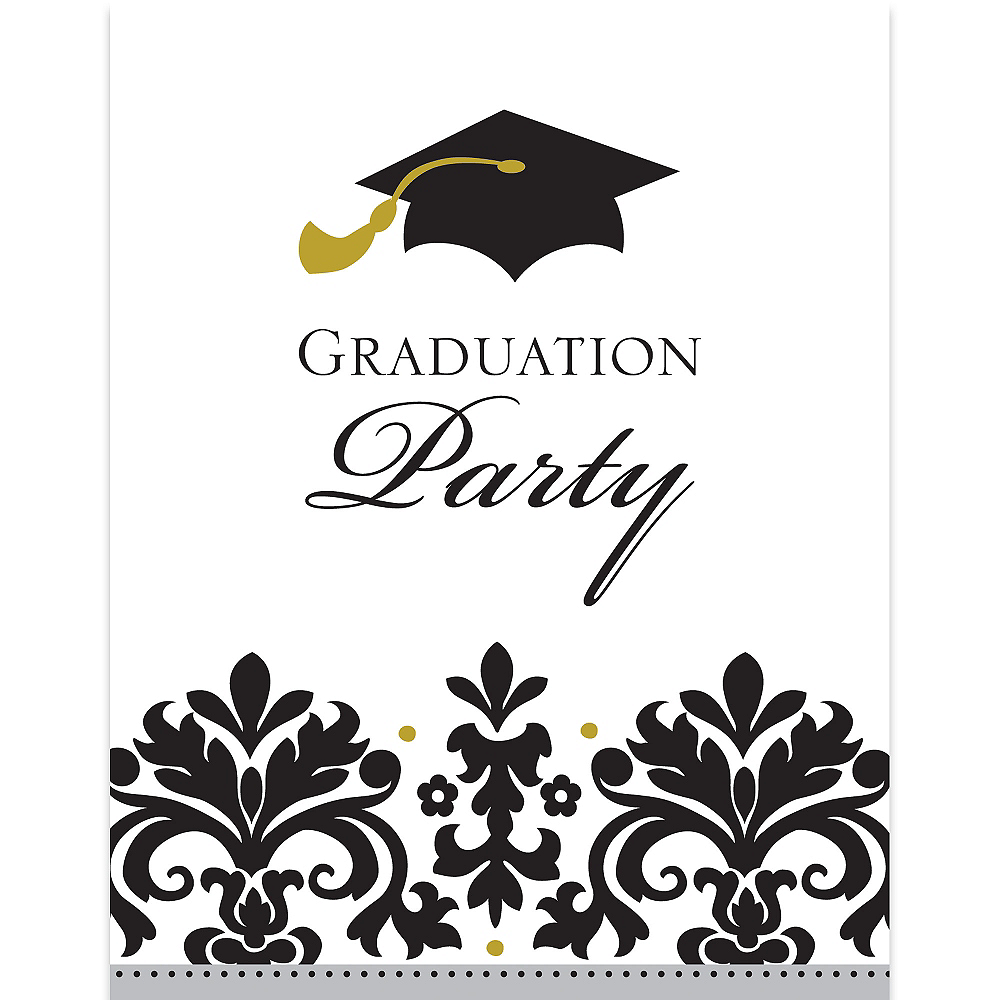 Black & White Graduation Invitations 50ct Image #1