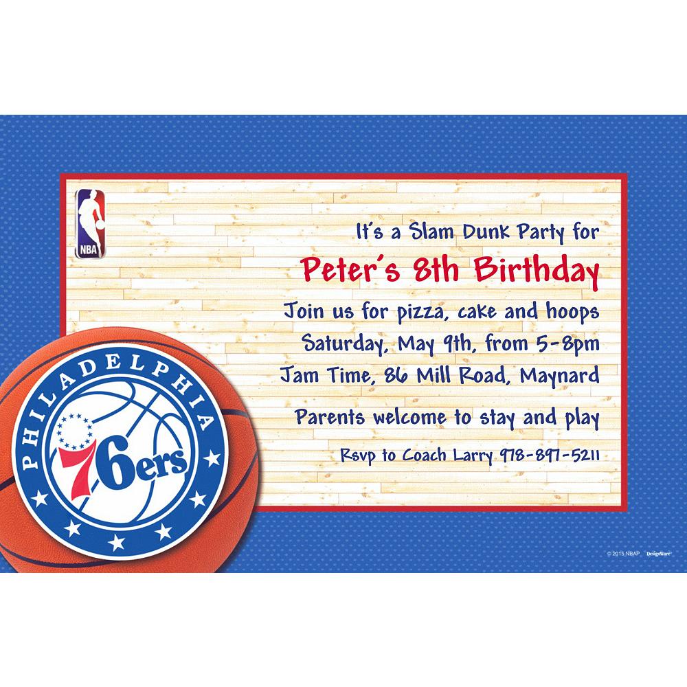 Custom Philadelphia 76ers Invitations Image #1