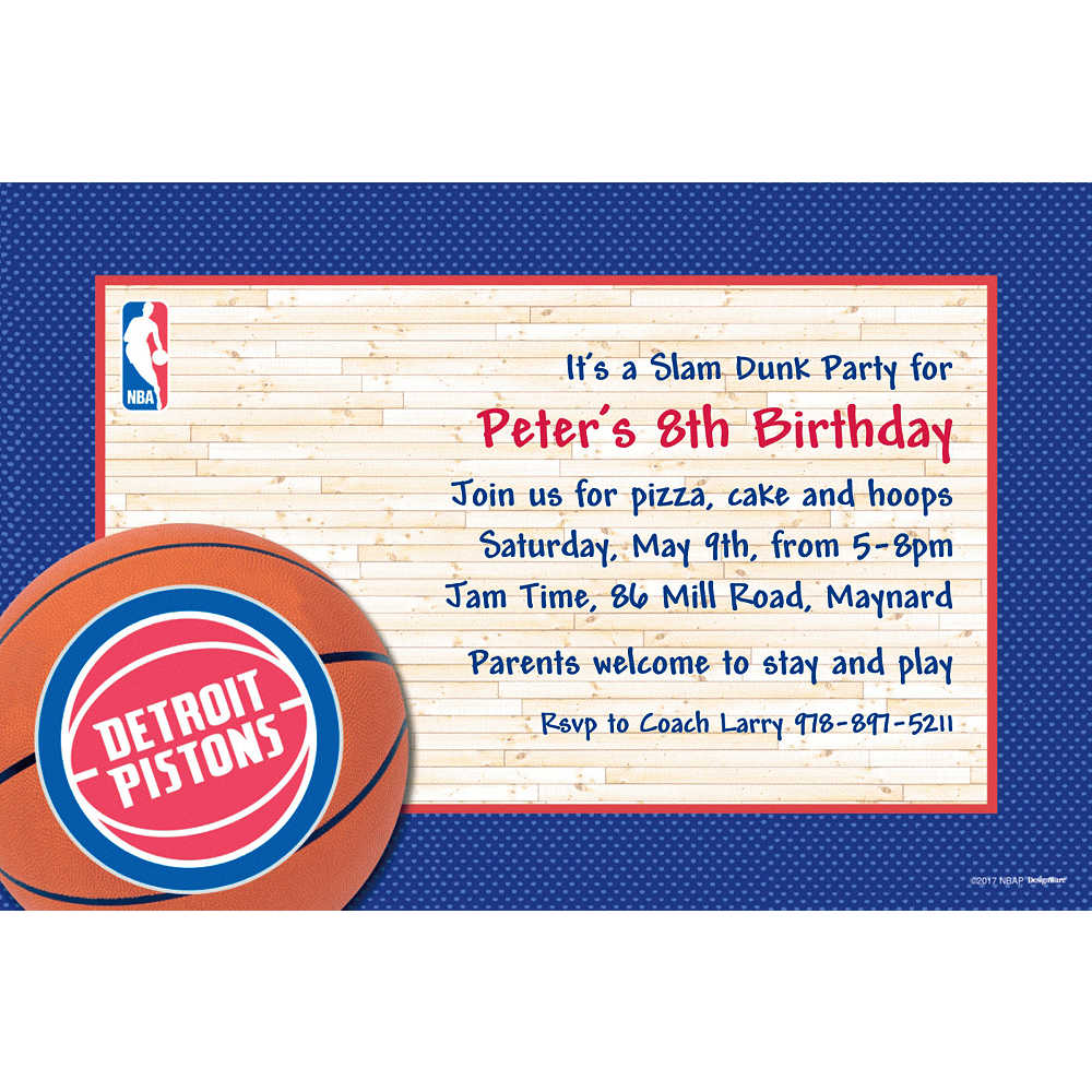 Custom Detroit Pistons Invitations Image #1
