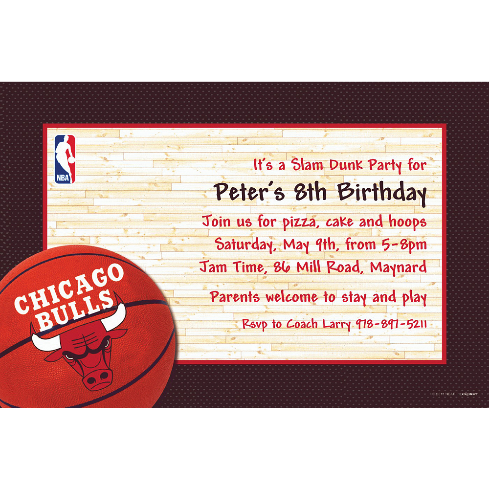 Custom Chicago Bulls Invitations | Party City