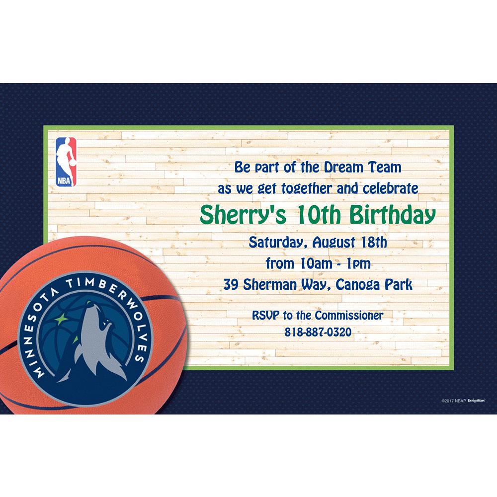 Custom Minnesota Timberwolves Invitations Image #1