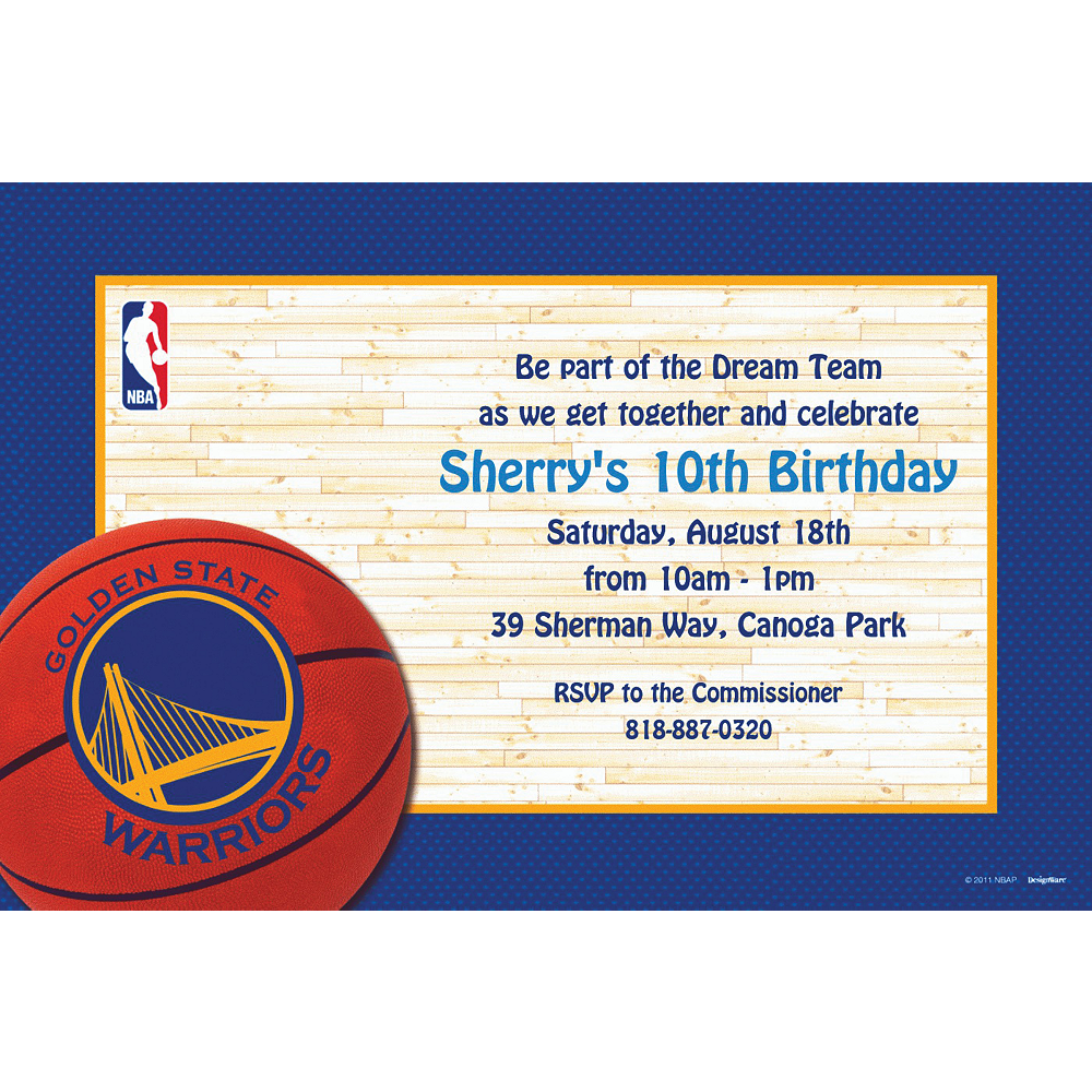 Custom Golden State Warriors Invitations Image #1