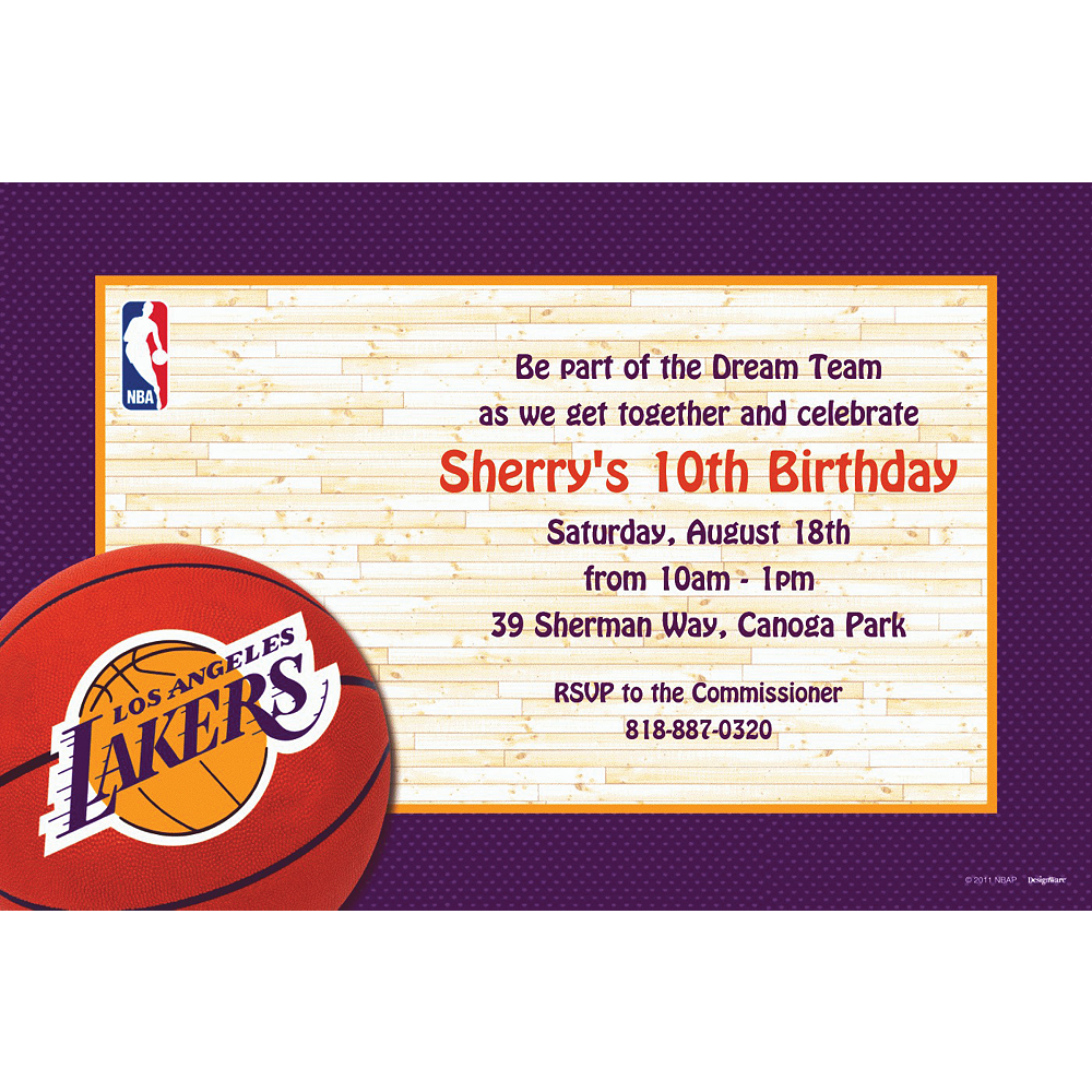 Nav Item for Custom Los Angeles Lakers Invitations  Image #1