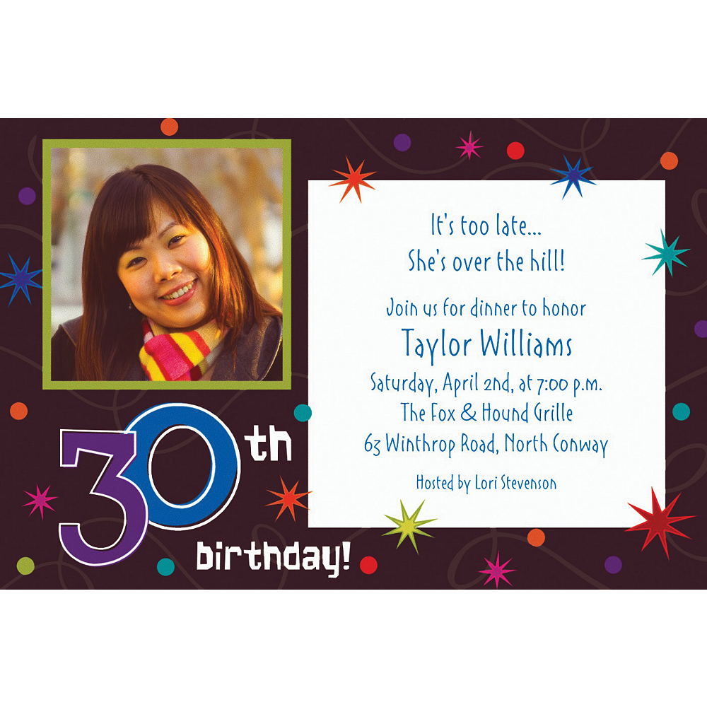Custom The Party Continues 30th Birthday Photo Invitations Image #1