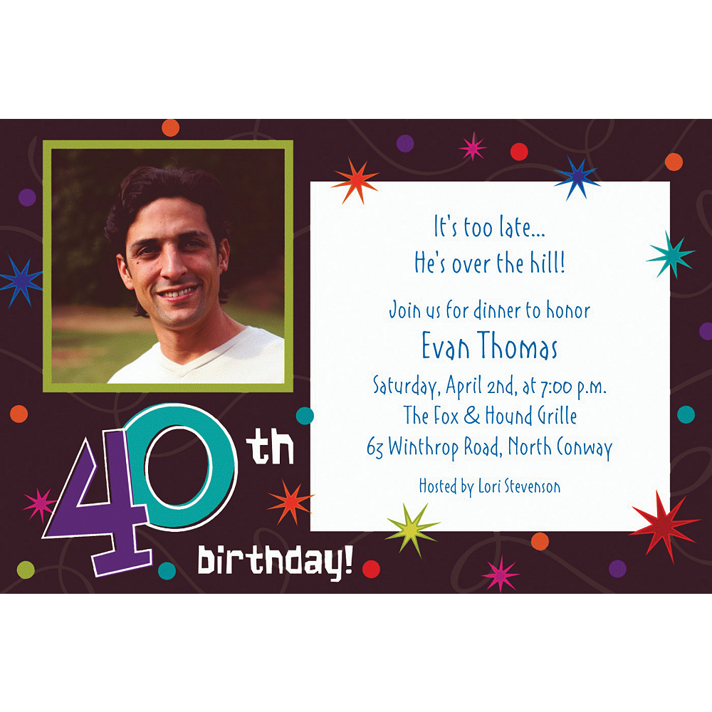 Custom The Party Continues 40th Birthday Photo Invitations Image #1
