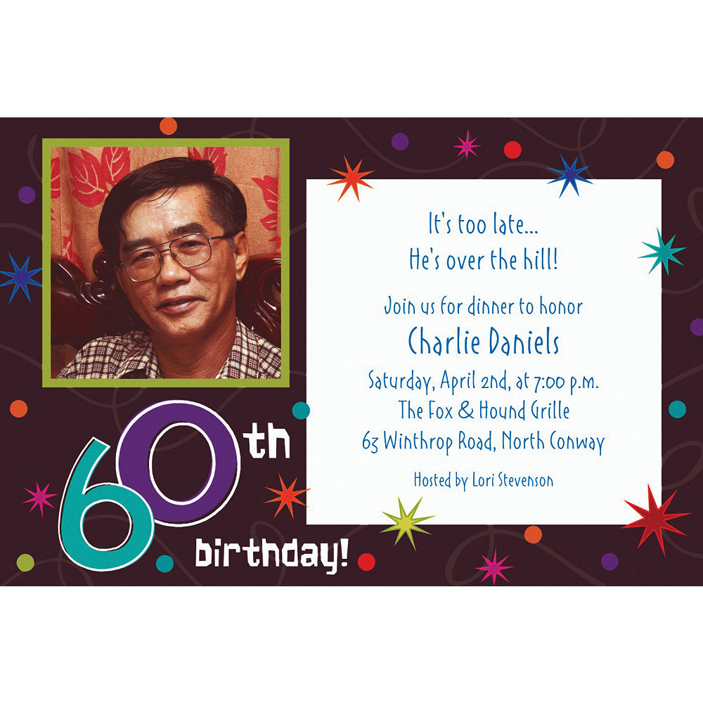 Custom The Party Continues 60th Birthday Photo Invitations Image #1