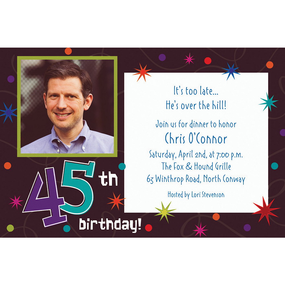 Custom The Party Continues 45th Photo Invitations Image #1