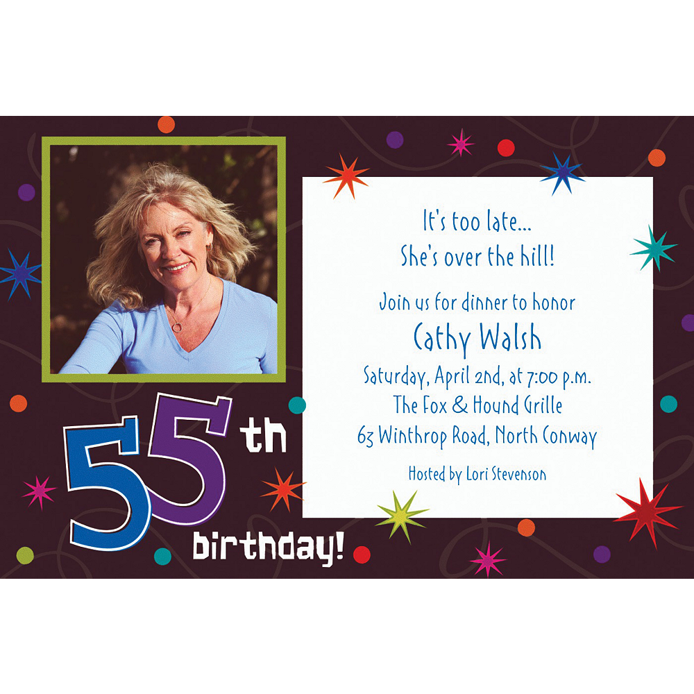 Custom The Party Continues 55th Photo Invitations Image #1