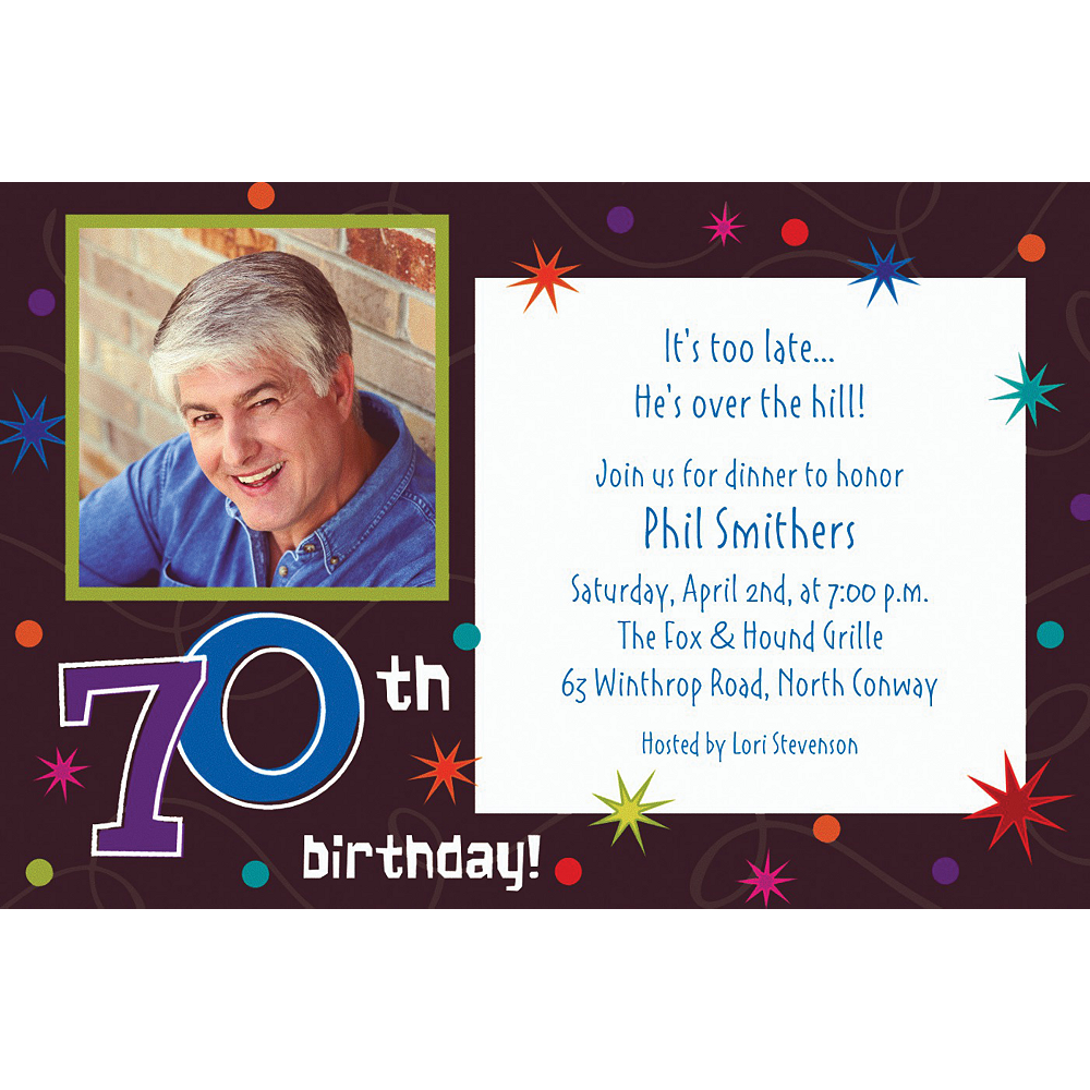 Custom The Party Continues 70th Photo Invitations Image #1