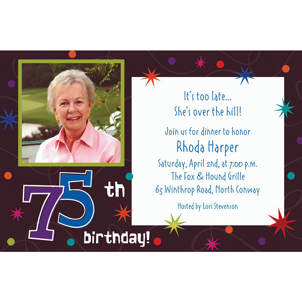 Custom The Party Continues 75th Photo Invitations Image #1