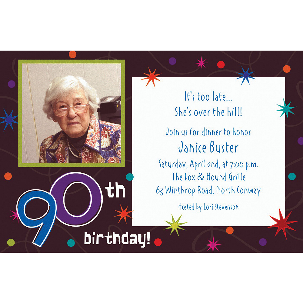 Custom The Party Continues 90th Photo Invitations Image #1