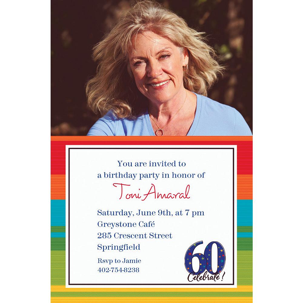 Custom A Year to Celebrate 60th Photo Invitations Image #1