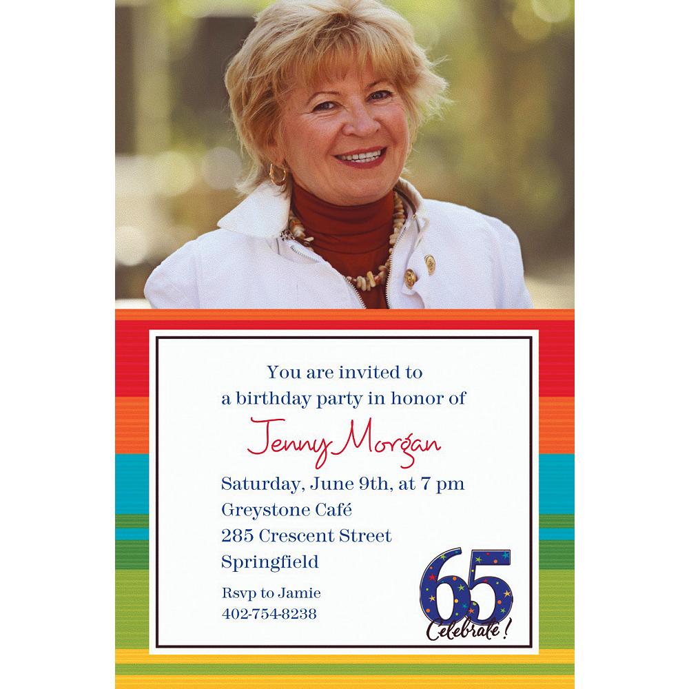 Custom A Year to Celebrate 65th Photo Invitations Image #1