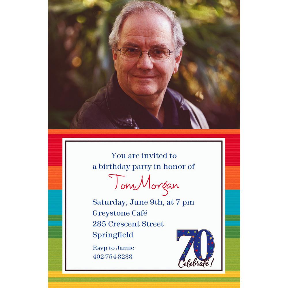 Custom A Year to Celebrate 70th Photo Invitations Image #1