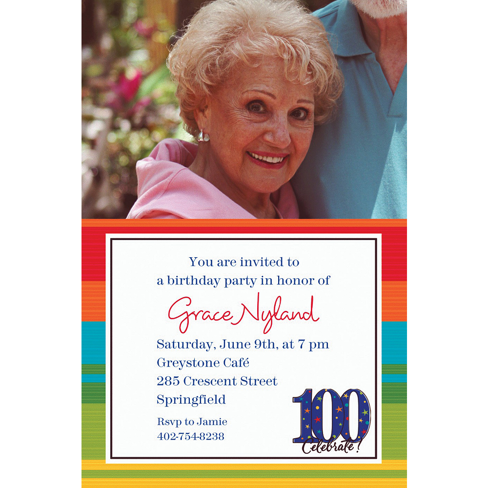 Custom A Year to Celebrate 100th Birthday Photo Invitations Image #1