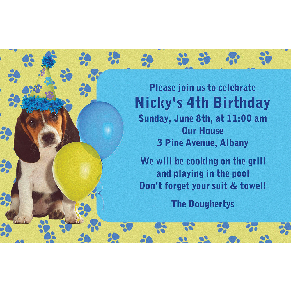 Custom Party Pups Invitations Image #1