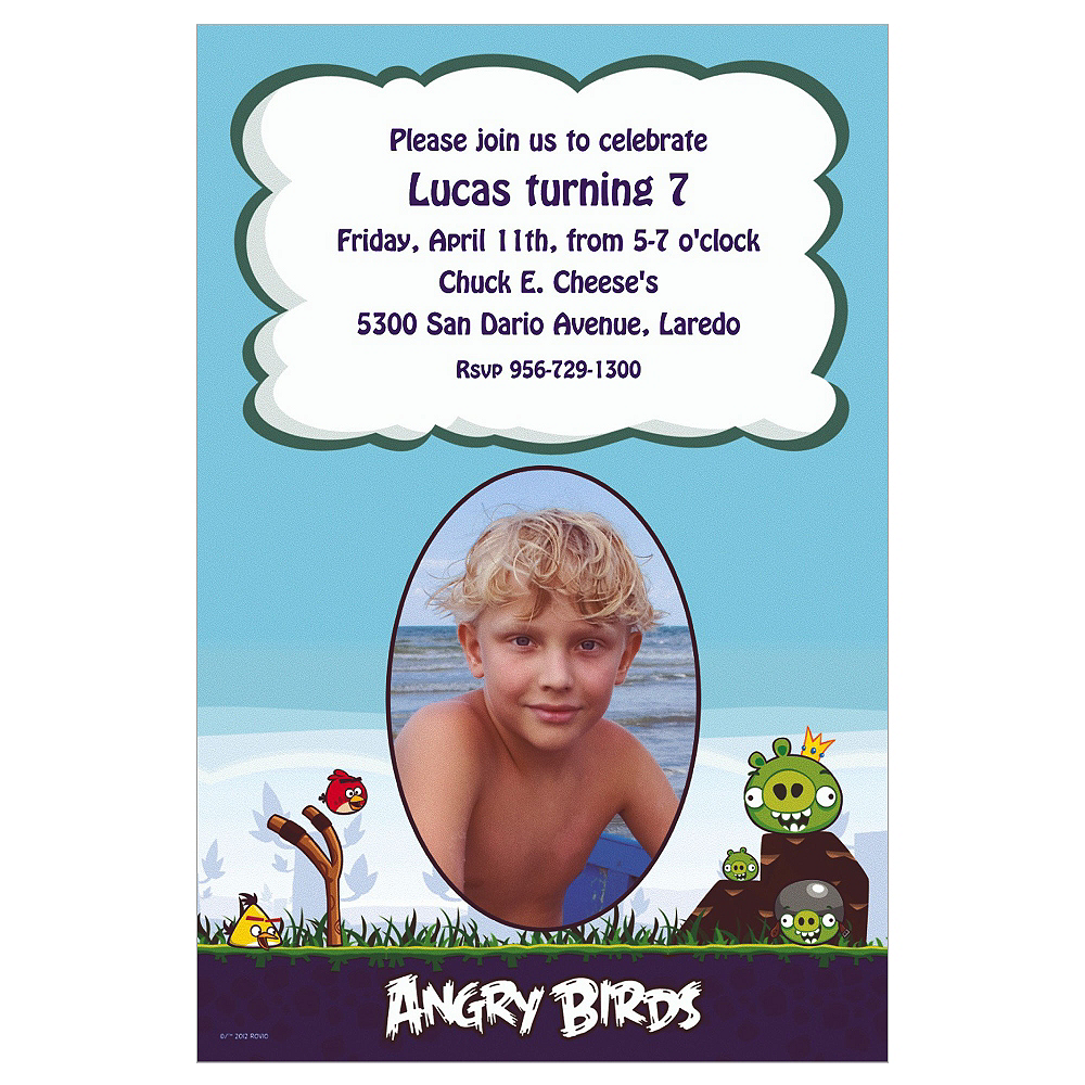 Custom Angry Birds Photo Invitations Image #1