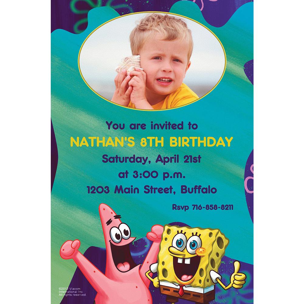 Custom Sponge Bob Classic Photo Invitations Image #1