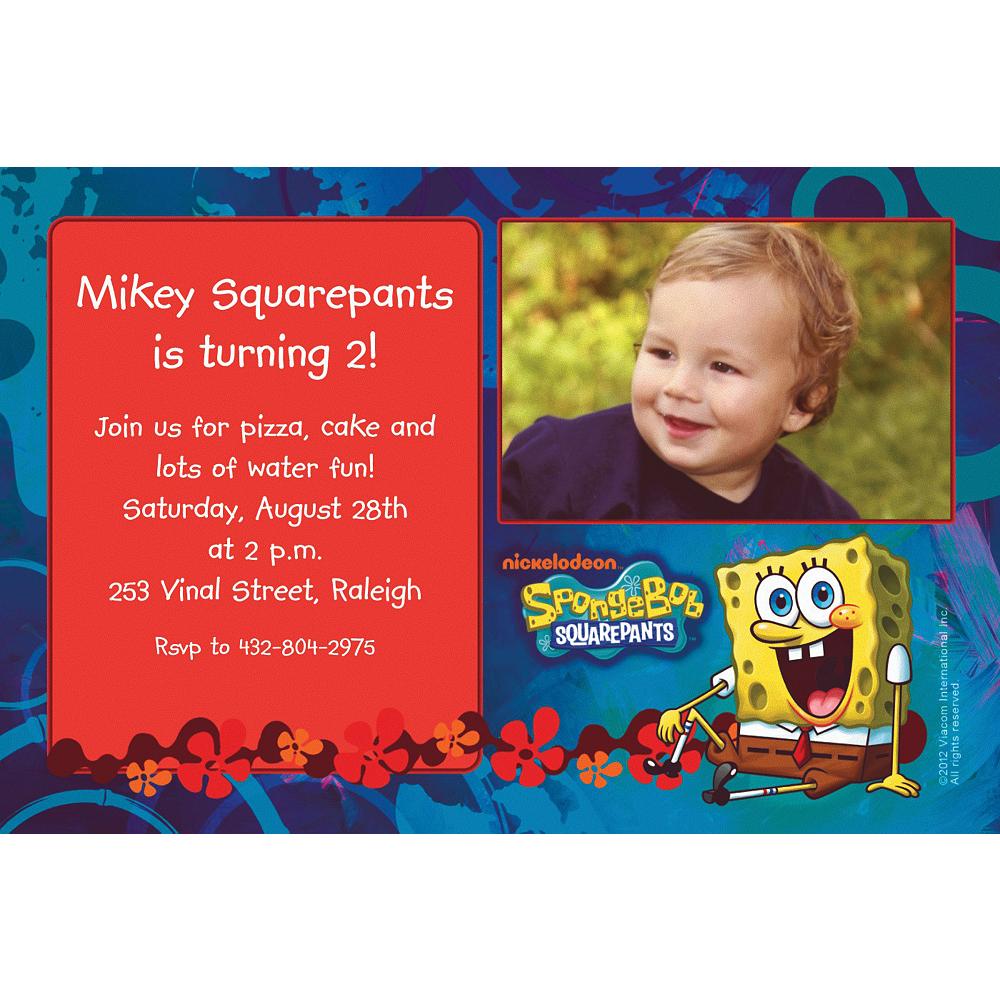 Custom Sponge Bob Simply Photo Invitations Image #1