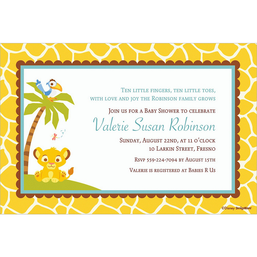 Custom Lion King Baby Shower Invitations Party City