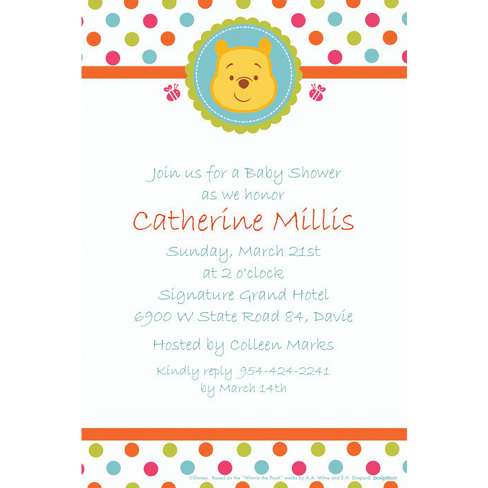 Custom Winnie the Pooh Baby Shower Invitations Image #1