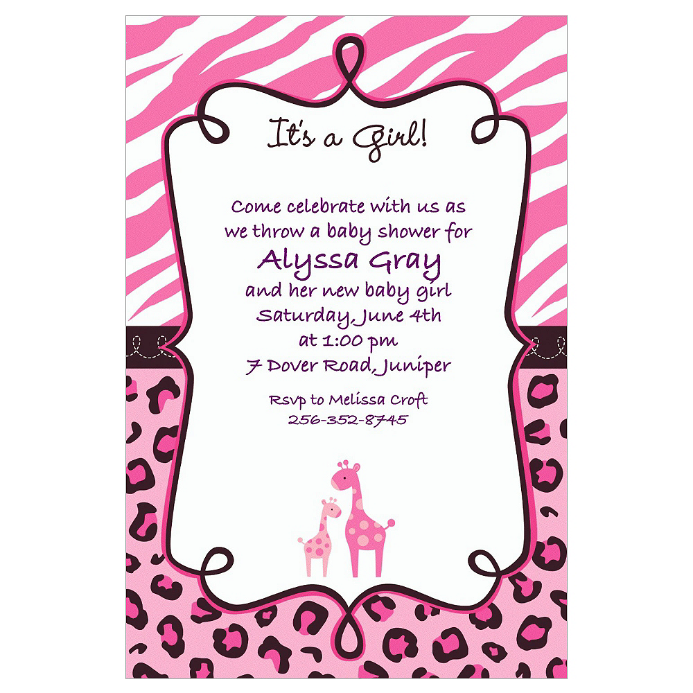 Custom Pink Safari Baby Shower Invitations Party City