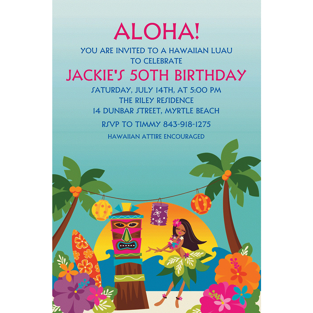 Custom In The Shade Luau Invitations Image 1