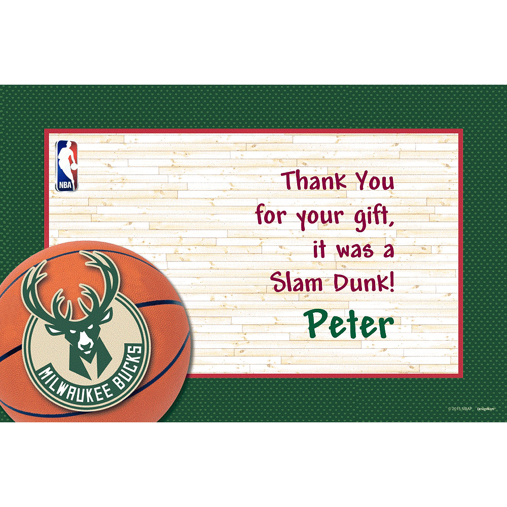 Nav Item for Custom Milwaukee Bucks Thank You Notes Image #1
