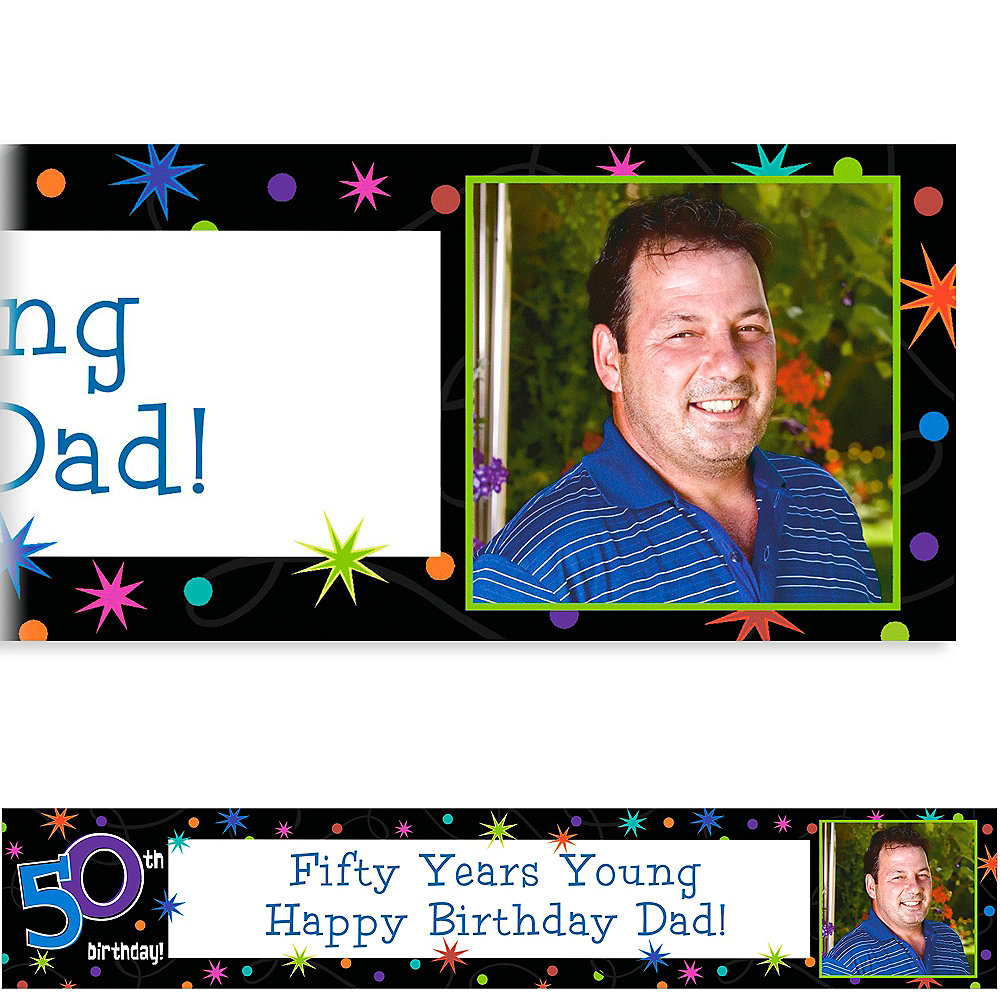 Custom The Party Continues 50th Birthday Photo Banner 6ft Image #1