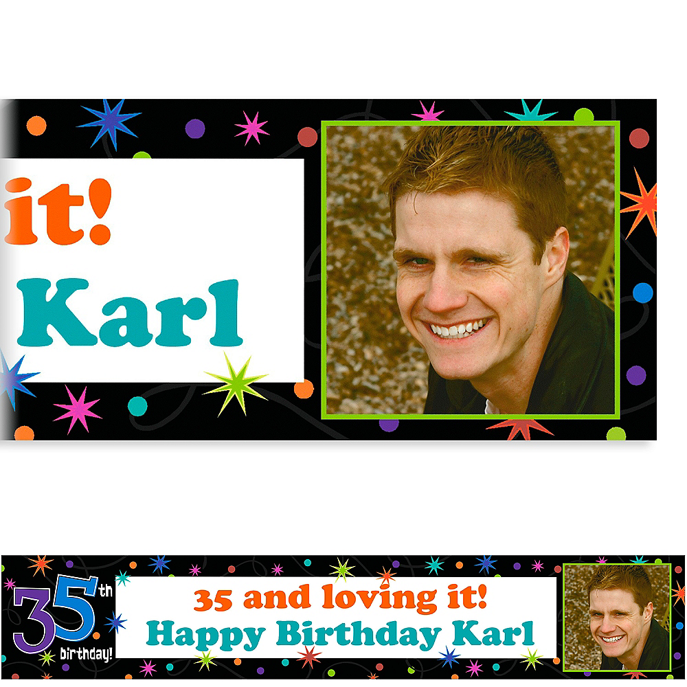 Custom The Party Continues 35th Birthday Photo Banner 6ft Image #1