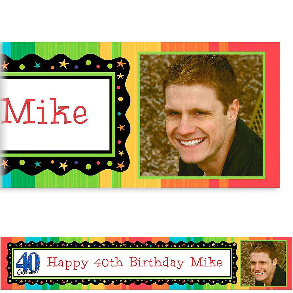 Custom A Year to Celebrate 40th Birthday Photo Banner 6ft Image #1