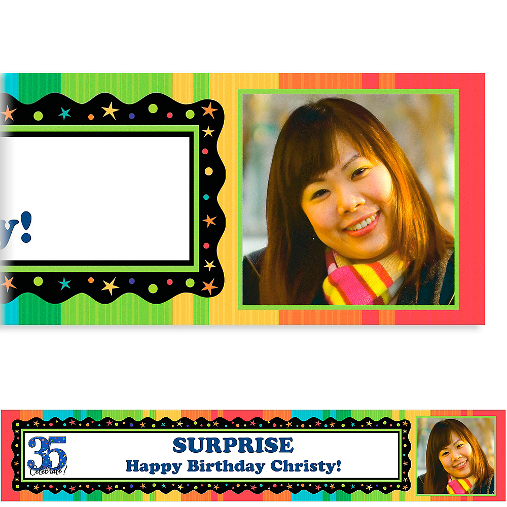 Custom A Year to Celebrate 35th Birthday Photo Banner 6ft Image #1