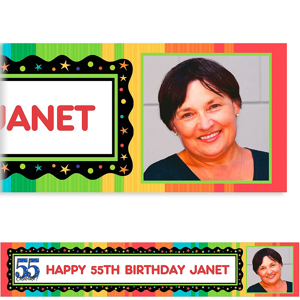 Custom A Year to Celebrate 55th Photo Banner 6ft Image #1