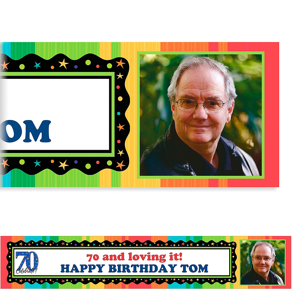 Custom A Year to Celebrate 70th Photo Banner 6ft Image #1