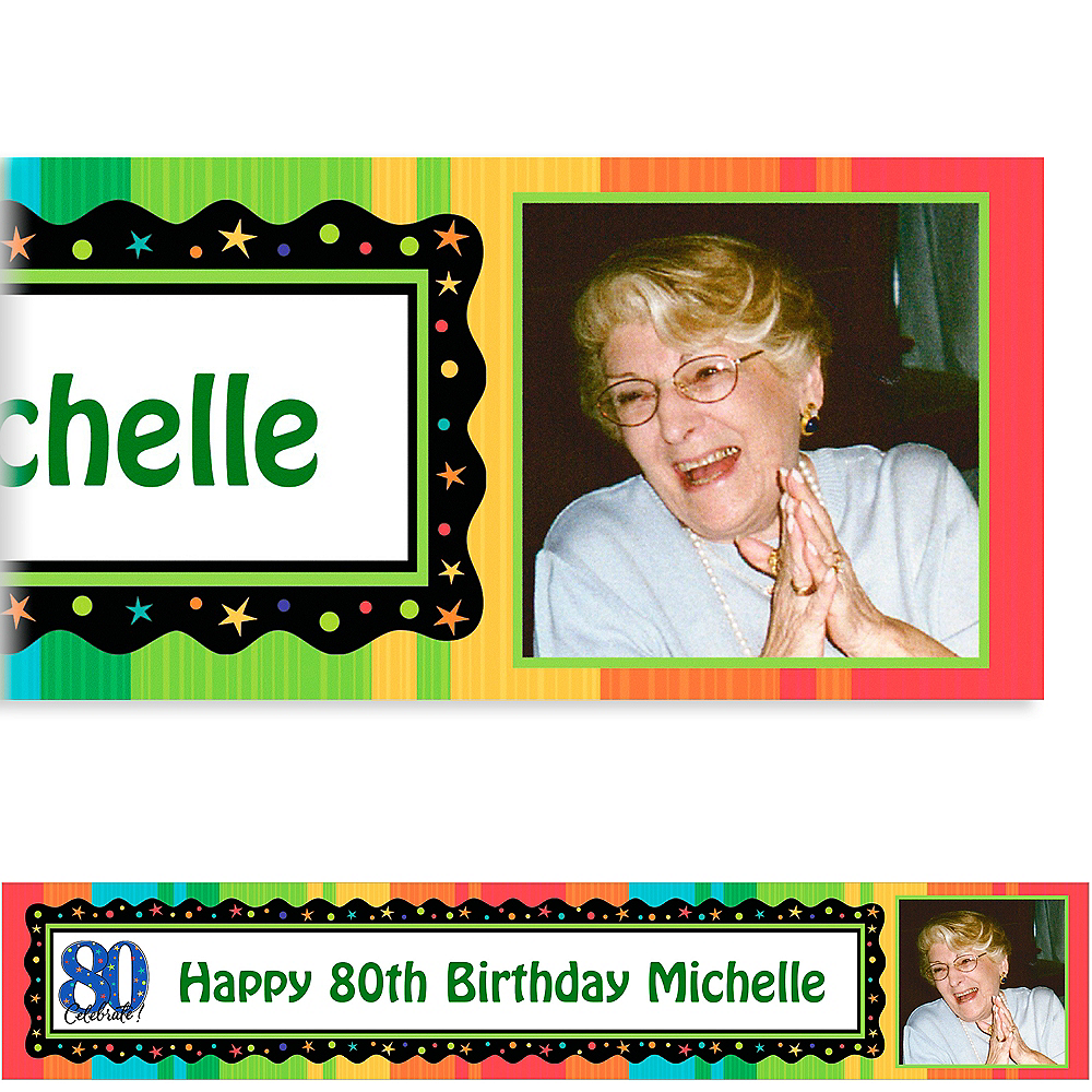 Custom A Year to Celebrate 80th Photo Banner 6ft Image #1