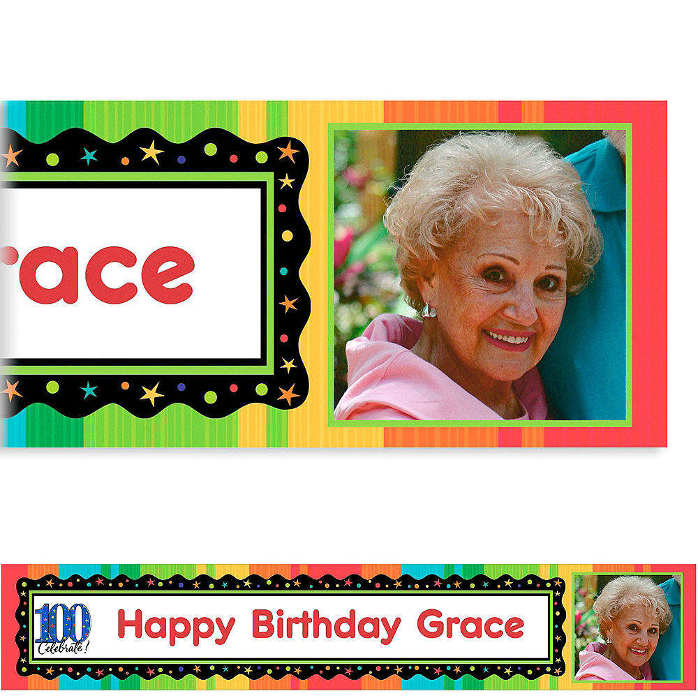 Custom A Year to Celebrate 100th Birthday Photo Banner 6ft Image #1