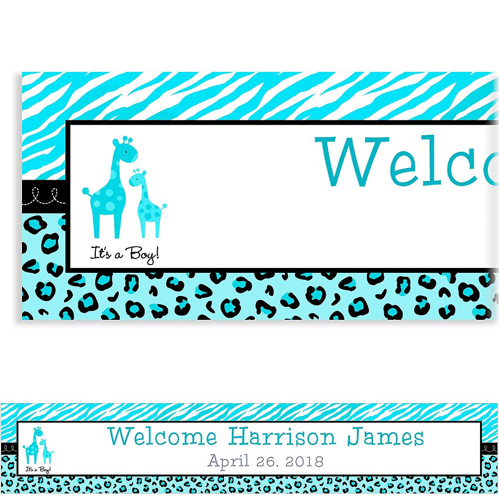 Custom Blue Safari Baby Shower Banner 6ft Image #1