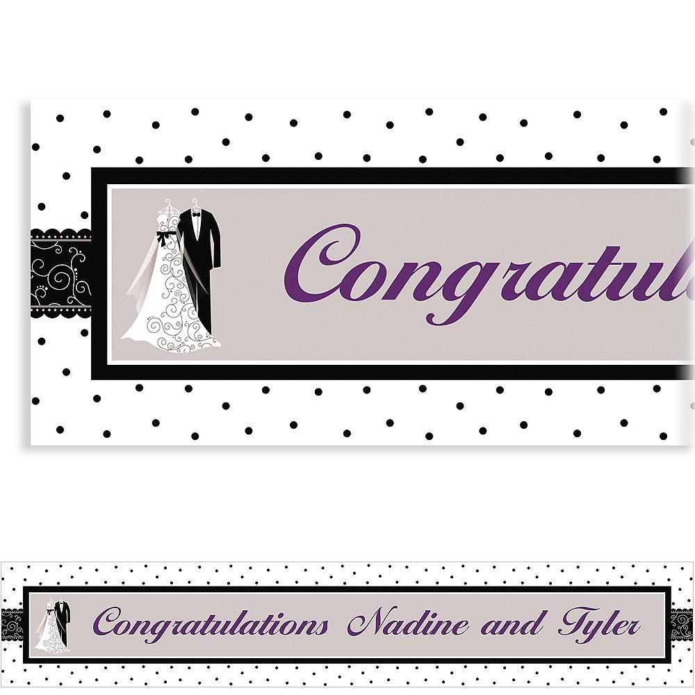 Custom Black & White Wedding Banner 6ft Image #1
