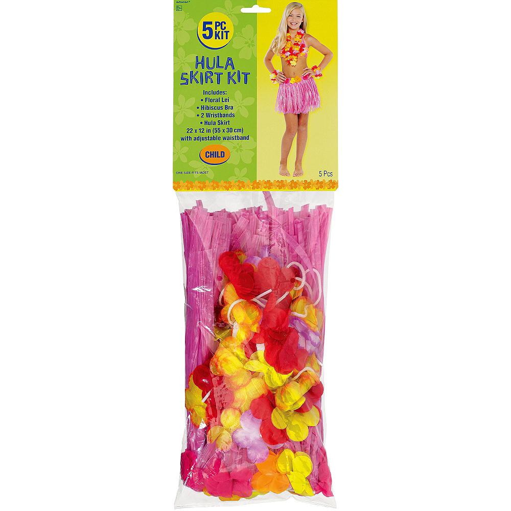 Child Pink Hula Skirt Kit 5pc Image #2