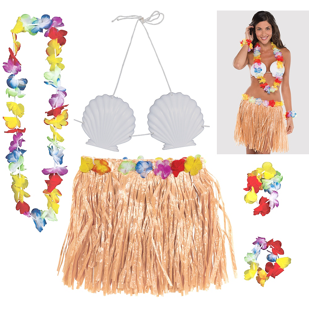 Adult Natural Hula Skirt Kit 5pc Image #1