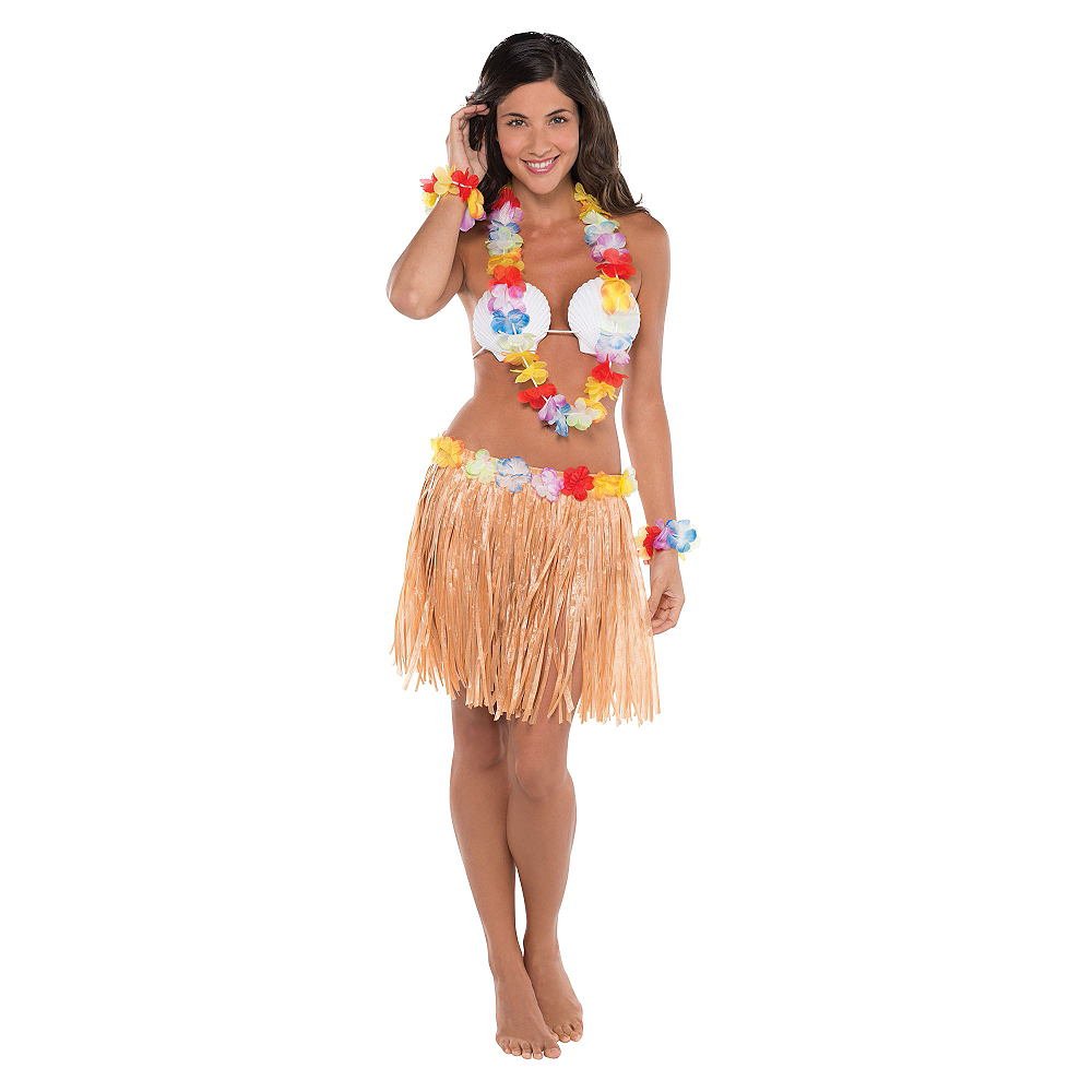 Adult Natural Hula Skirt Kit 5pc Image #2