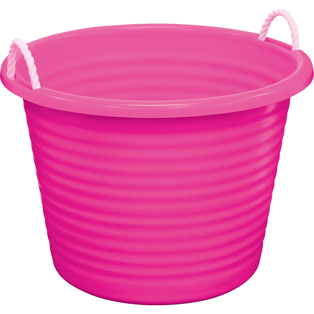 Pink Plastic Tub with Rope Handles Image #1