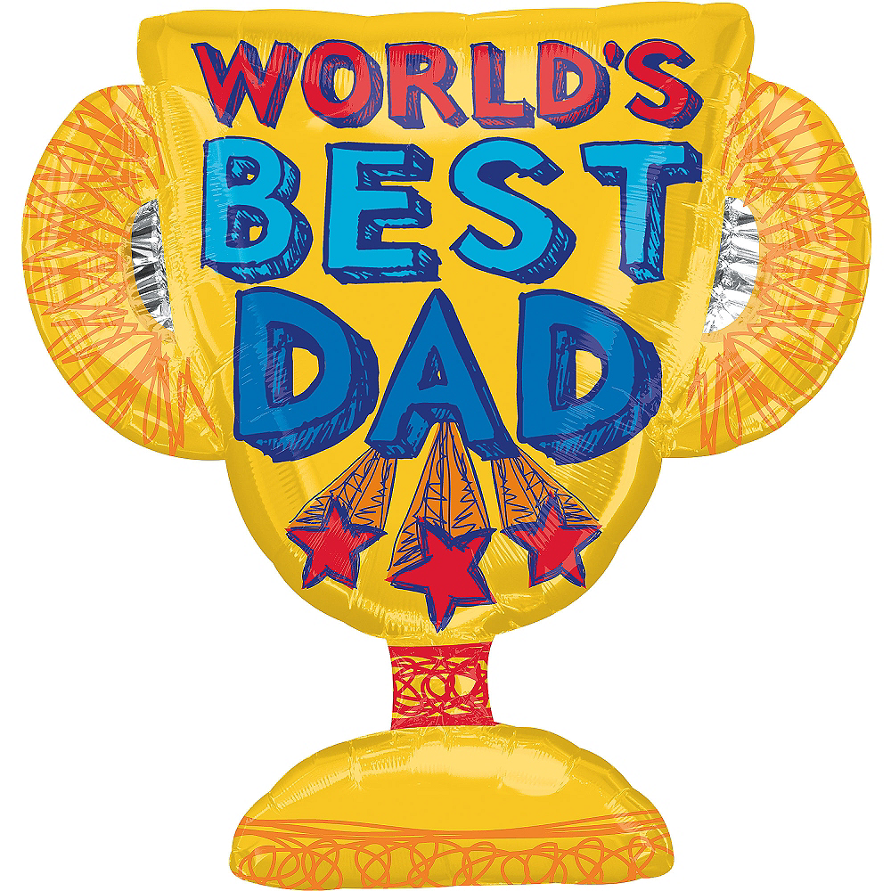 Foil World's Best Dad Trophy Balloon 35in, 35in Image #1