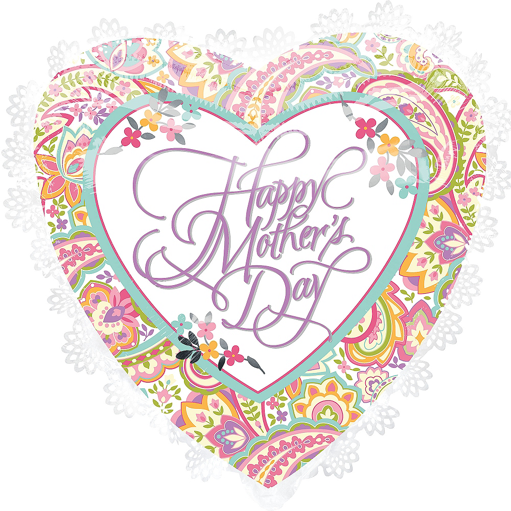 Foil White Trim Mother's Day Heart Balloon 27in Image #1