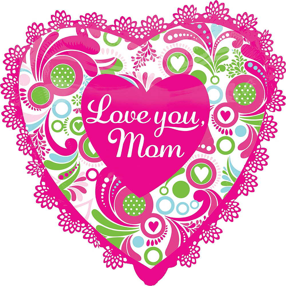 Foil Pink Trim Mother's Day Heart Balloon 27in Image #1