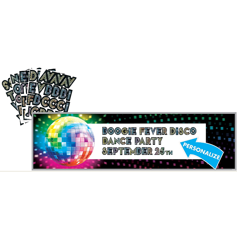 Giant Disco 70s Personalized Banner Kit 65in x 20in | Party City
