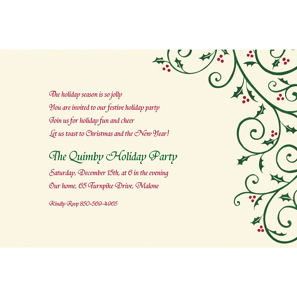 Custom Delicate Holly Scroll Invitations Image #1