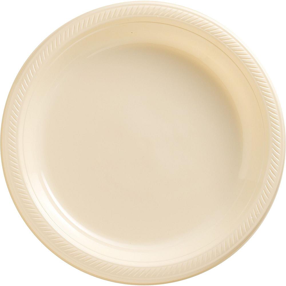 Vanilla Cream Plastic Dinner Plates 20ct Image #1